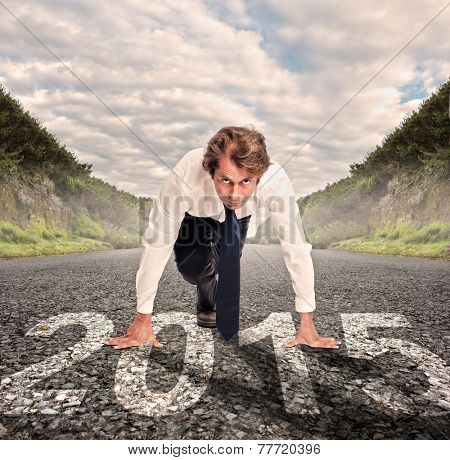 businessman on a road ready to run