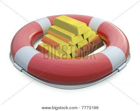 SOS life belt and golden bars