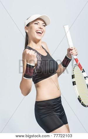 Nice Portrait Of Professional Female Tennis Player Showing Excitement And Exclaiming
