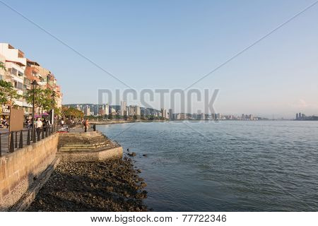 TAIPEI, TAIWAN - November 21th : The scenery of Tamsui with river, Taiwan on November 21th, 2014.