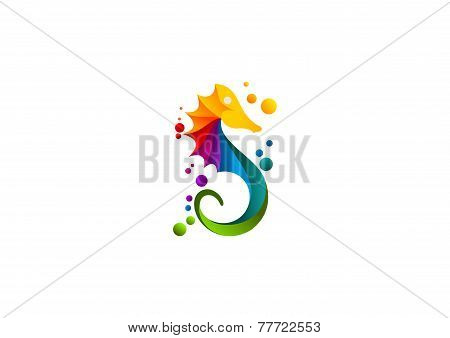 seahorse logo, abstract sea print colourful symbol design