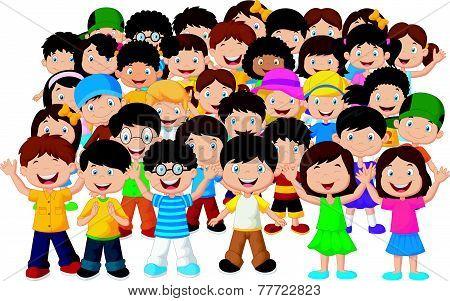Crowd of children vector