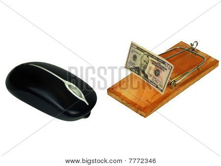 Computer Mouse And Fifty Dollar Bait In Mousetrap