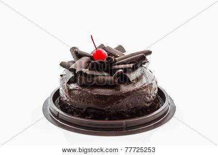 Chocolate Cake Isolated On White Background.
