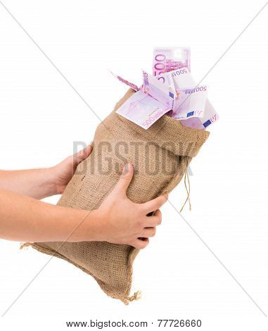 money bag with euro bills