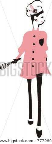 Fashion Model Girl Chef Decorative Hat