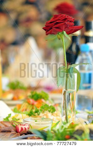 Table With Food And rose