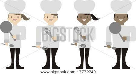 Male Female Caucasian African American Chefs Cooking Baking