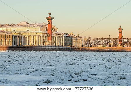 View Of Saint Petersburg. Spit Of Vasilievsky Island In Winter