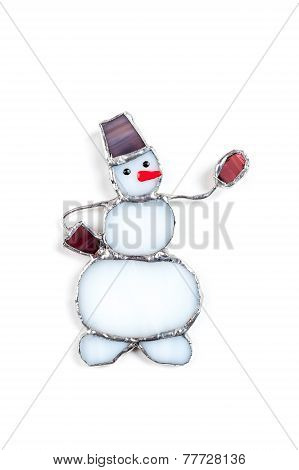 Colorful Stained Glass Hand-made Snowman