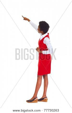 Young african business woman presenting copyspace isolated white