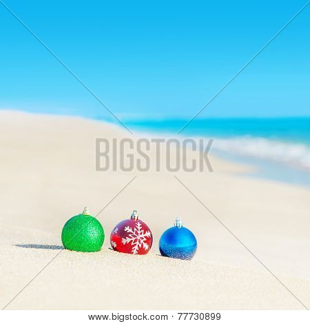 Christmas Tree Decorations On Sea Coast - New Years Holiday In Hot Countries Concept