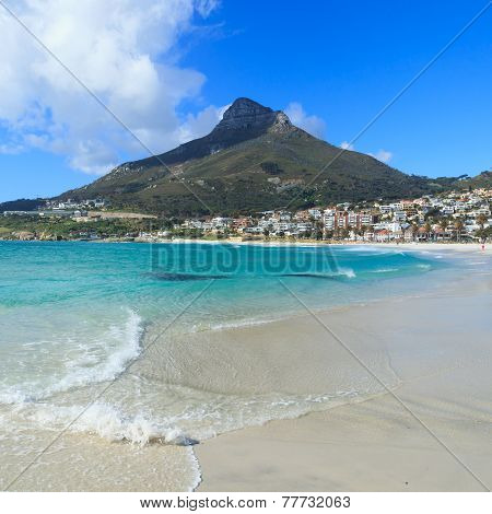 Beautiful Camps Bay Beach And Lion Head Mountain Chain, Cape Town, South Africa.