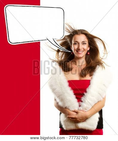 Woman in red looking on camera with speech bubble