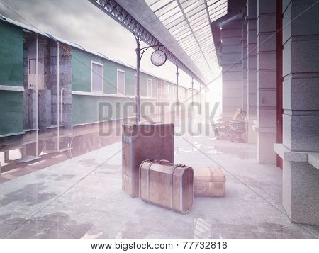 fog on the retro railway  train station .3D concept