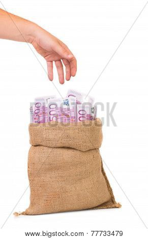 money bag full with euro bills