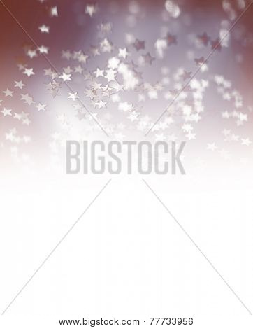 Festive starry border with white copy space, beautiful little shiny confetti, star shape glitters, Merry Christmas greeting card