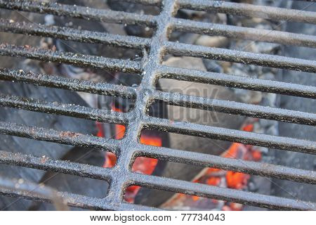 Glowing coals under the grid.