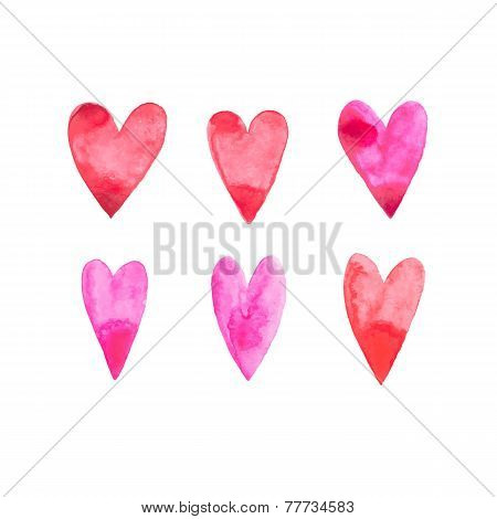 Watercolor aquarelle hand drawn red heart love art paint on white background Vector illustration