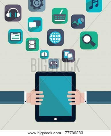 Social Media Concept. Resources Of Tablet Pc