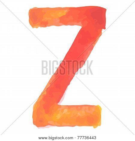 Letter Z Colorful watercolor aquarelle font type handwritten hand draw doodle abc alphabet letters V