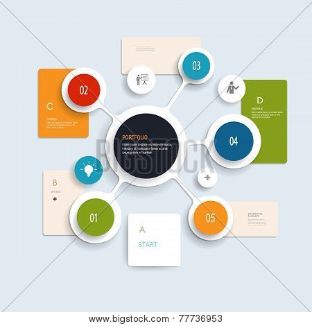 Minimal Infographics elements design . Abstract circles and squares infographic template