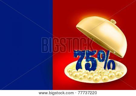 Golden service tray revealing blue 75% percents