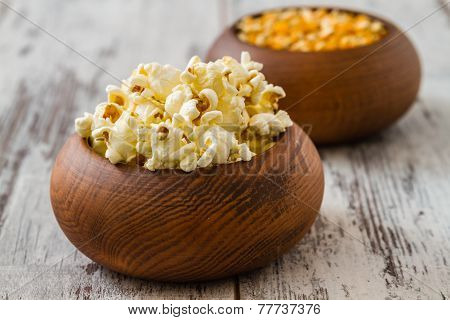 Popcorn And Ripe Corn In Wooden Bowls