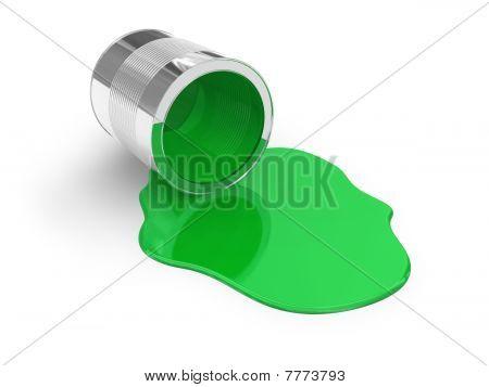 Green spilled paint