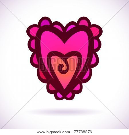 Ornamental heart, Isolated design element, Vector illustration