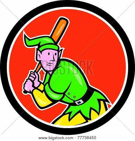 Elf Baseball Player Batting Circle Cartoon