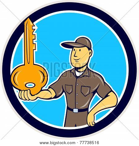 Locksmith Balancing Key Palm Circle Cartoon