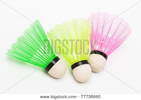 three shuttlecock badminton on a white background