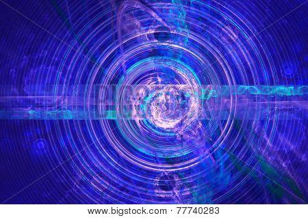 Endless azure fractal spiral woven from thin strings based on the dark. Fractal art graphics.