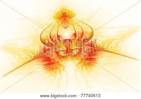Fantastic translucent fiery flower