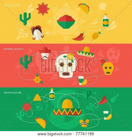Mexico flat banner set