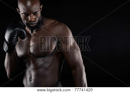 Confident Young Male Boxer Practicing Boxing