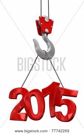 Numbers 2015 on crane hook   (clipping path included)