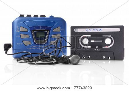 music cassette and walkman