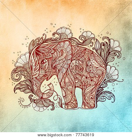 Beautiful Hand-painted Elephant With Floral Ornament