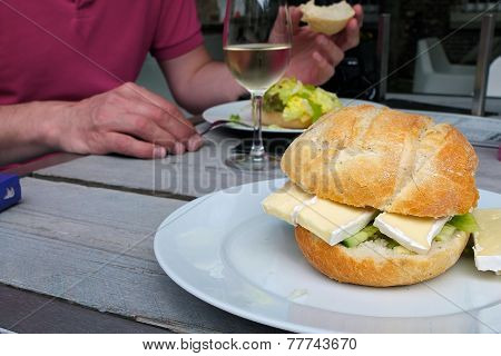 Sandwich with brie cheese