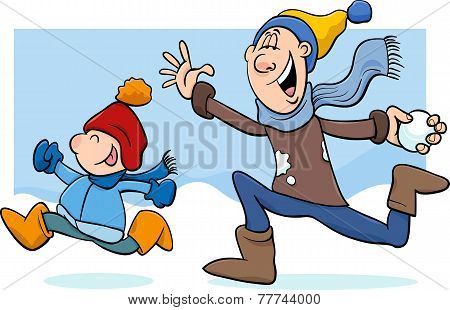 Dad And Son On Winter Cartoon