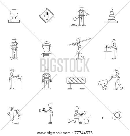 Road worker outline icon