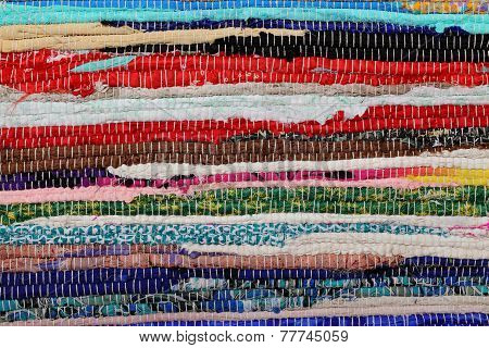 Recycling, Handmade Colorful Ethnic Retro Rug