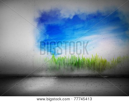 Vibrant landscape painting on a grey concrete wall. Concepts of positive change, hope, future, art etc.