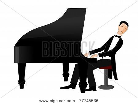 Man playing piano with passion