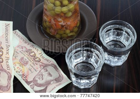 Vodka, pork aspic and money.