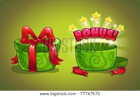 Green gift box with bonus