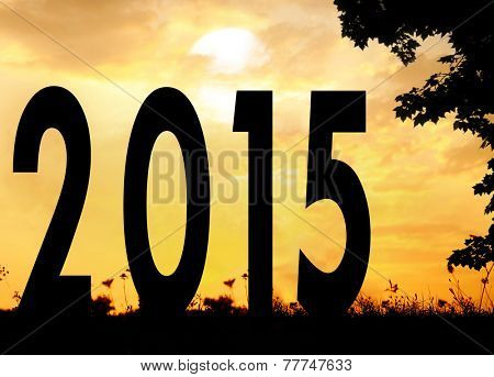 Happy new 2015 year meadow, tree and meadow yellow sunset