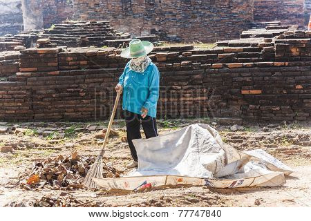 Worker Relax At Temple Area In Ayutthaya, Thailand